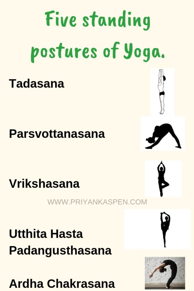 Five standing Postures of yoga